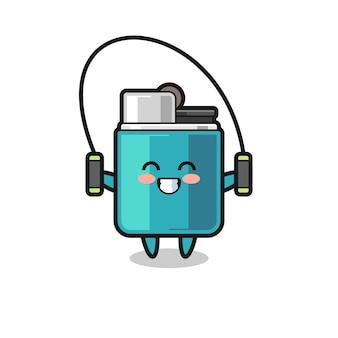 Caricature de personnage plus légère avec corde à sauter, design mignon