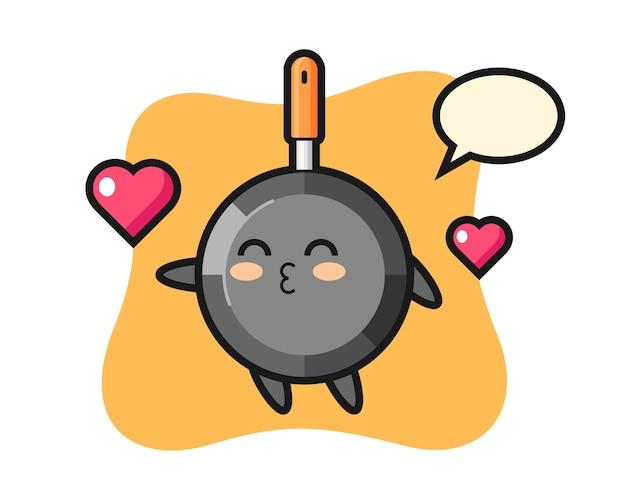 Caricature de personnage de poêle à frire avec geste de baiser