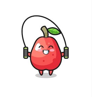 Caricature de personnage de pomme d'eau avec corde à sauter, design de style mignon pour t-shirt, autocollant, élément de logo