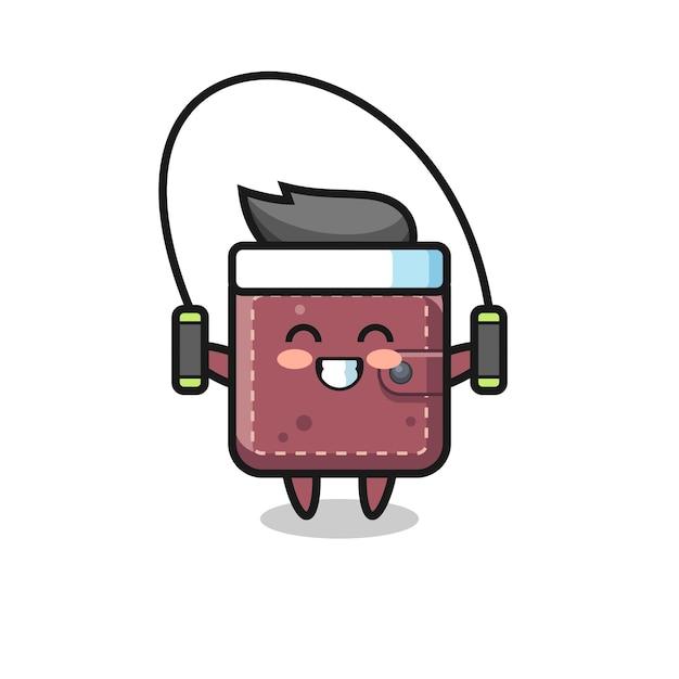 Caricature de personnage de portefeuille en cuir avec corde à sauter