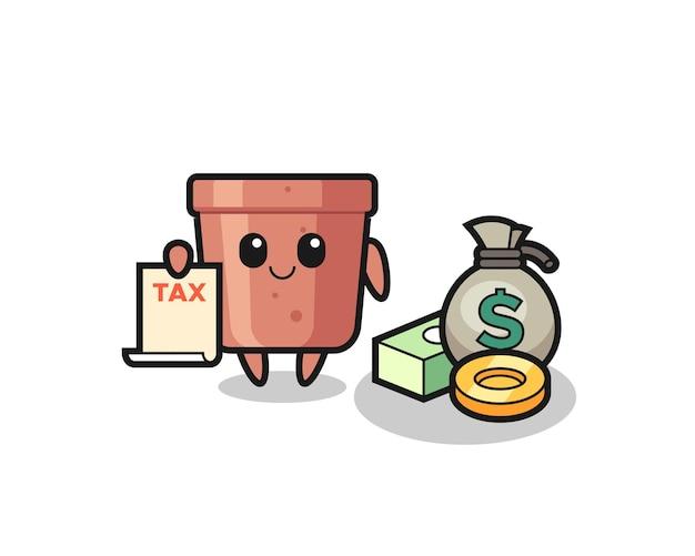 Caricature de personnage de pot de fleurs en tant que comptable, design de style mignon pour t-shirt, autocollant, élément de logo