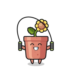 Caricature de personnage de pot de tournesol avec corde à sauter, design de style mignon pour t-shirt, autocollant, élément de logo