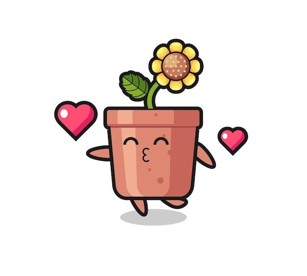 Caricature de personnage de pot de tournesol avec geste de baiser, design de style mignon pour t-shirt, autocollant, élément de logo