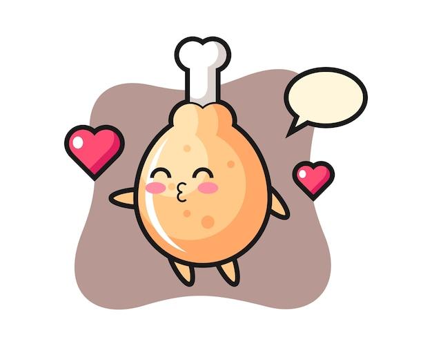 Caricature de personnage de poulet frit avec geste de baiser