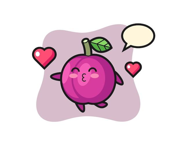 Caricature de personnage de prune avec geste de baiser, design de style mignon pour t-shirt, autocollant, élément de logo