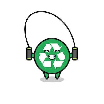 Caricature de personnage de recyclage avec corde à sauter, design mignon