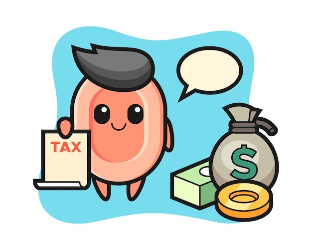 Caricature de personnage de savon en tant que comptable, style mignon pour t-shirt, autocollant, élément de logo