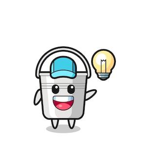 Caricature de personnage de seau en métal obtenant l'idée, conception de style mignon pour t-shirt, autocollant, élément de logo