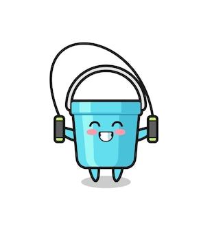 Caricature de personnage de seau en plastique avec corde à sauter, design de style mignon pour t-shirt, autocollant, élément de logo