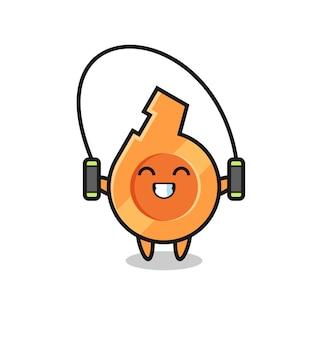 Caricature de personnage de sifflet avec corde à sauter, design mignon