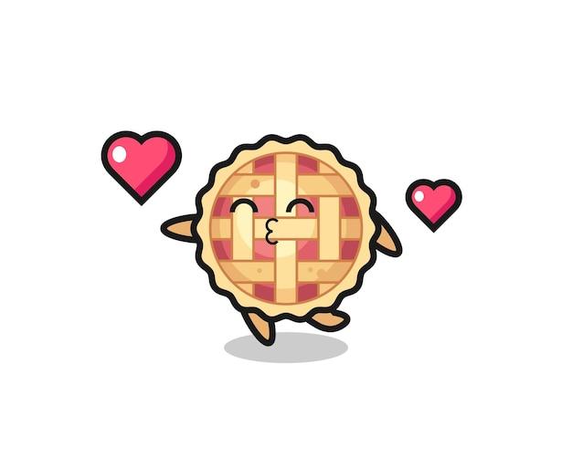 Caricature de personnage de tarte aux pommes avec geste de baiser, design de style mignon pour t-shirt, autocollant, élément de logo