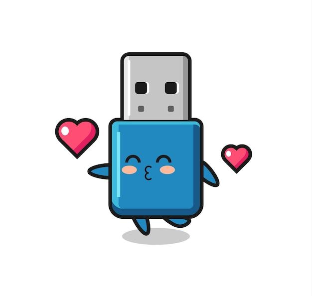 Caricature de personnage usb avec lecteur flash avec geste de baiser, design de style mignon pour t-shirt, autocollant, élément de logo