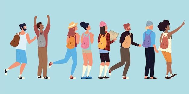 Caricature de personnages de sac de randonnée de personnes