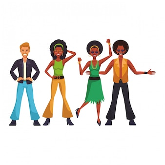 Caricature de personnes disco