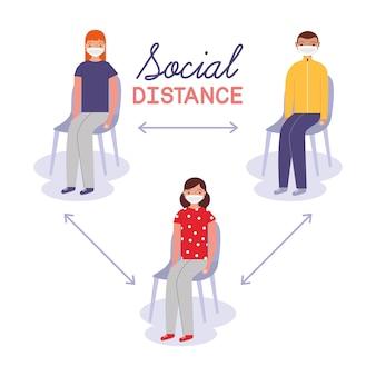 Caricature de personnes à distance sociale. covid 19. illustration vectorielle