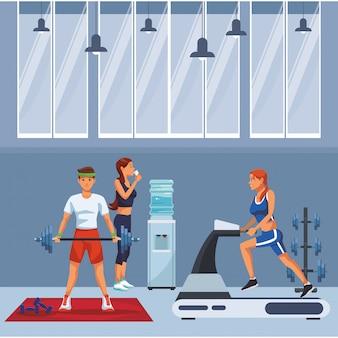 Caricature de personnes fitness