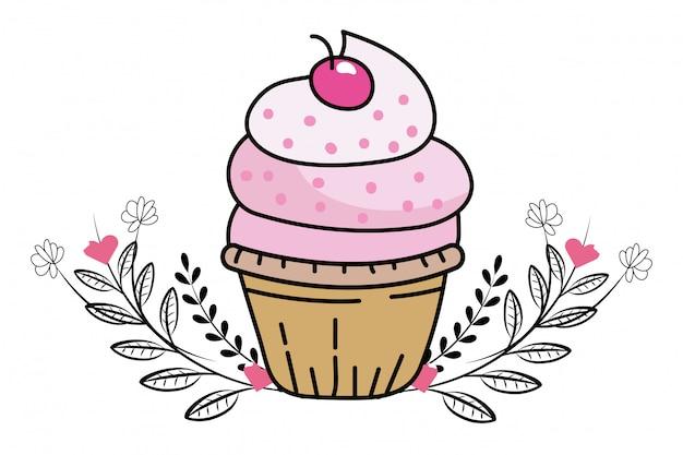 Caricature de petit gâteau de boulangerie
