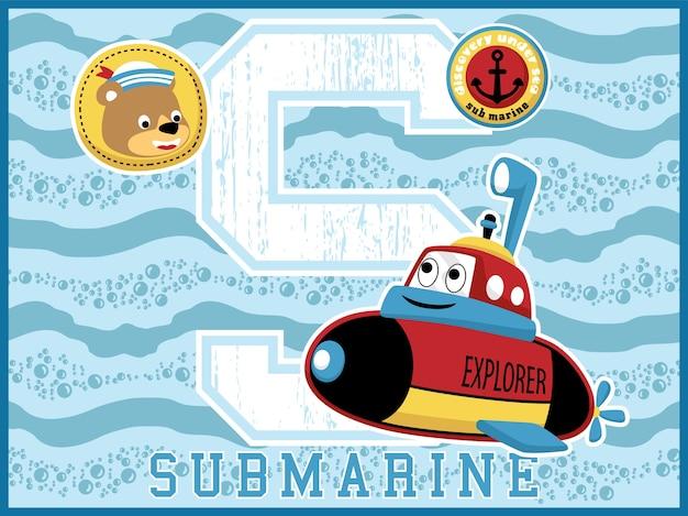 Caricature de petit sous-marin avec tête de marin drôle sur fond sous-marin
