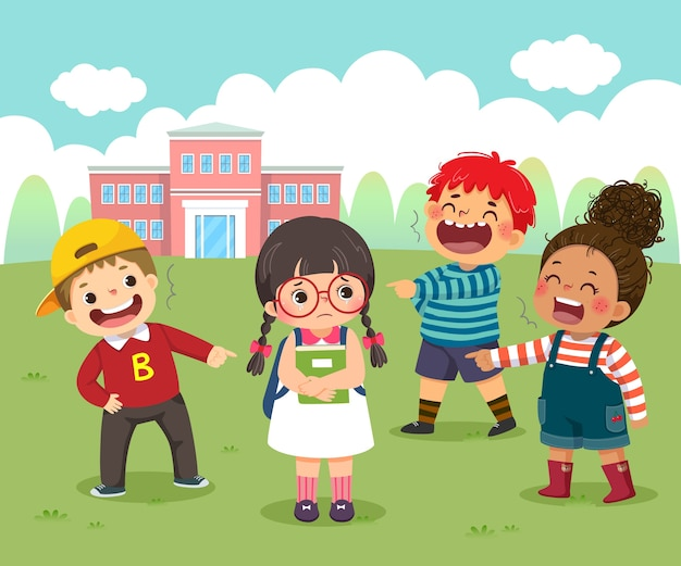 Caricature d'une petite fille triste victime d'intimidation par ses camarades de classe dans la cour d'école.