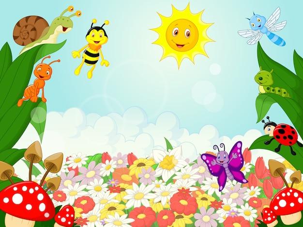 Caricature de petits animaux avec fond de fleurs