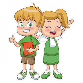 Caricature de petits écoliers