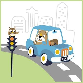 Caricature de pilote heureux sur la petite voiture