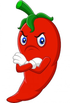 Caricature de piment rouge en colère