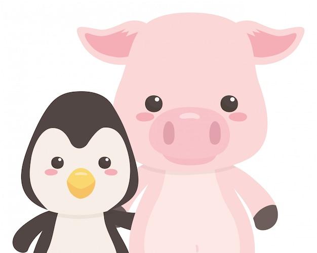 Caricature de pingouin et de cochon