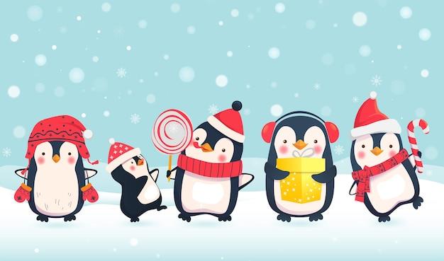 Caricature de pingouins. personnages de pingouin de noël