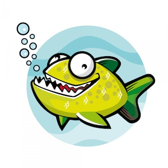 Caricature de piranha vert souriait joyeusement avec des bulles d'eau