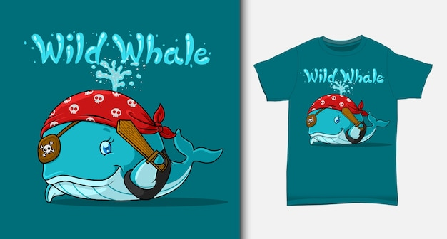Caricature de pirate de baleine bleue. avec un design de t-shirt.