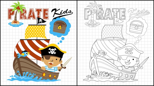 Caricature de pirate enfants sur voilier en bois