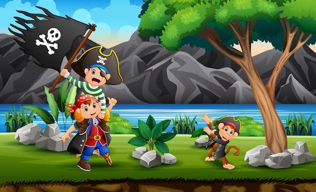 Caricature de pirates sur la colline