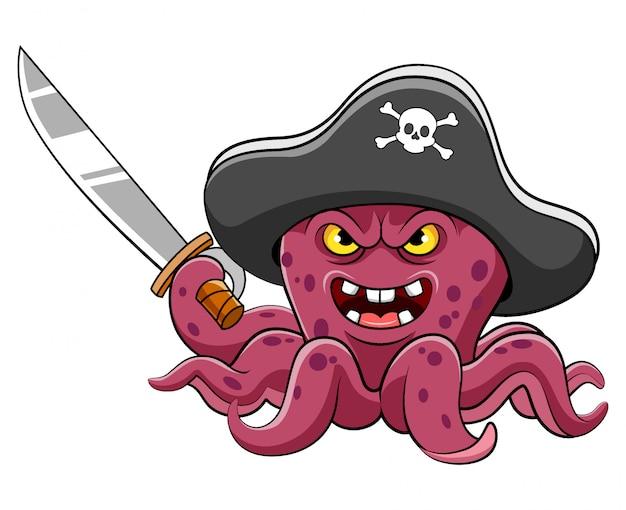 Caricature de pirates de poulpe en colère tenant l'épée d'illustration