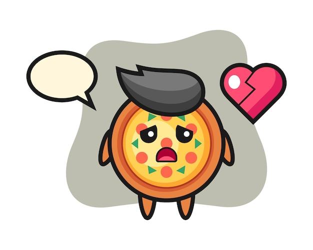 Caricature de pizza est le cœur brisé