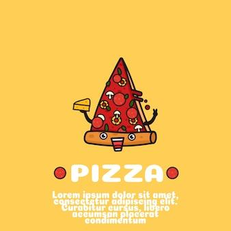 Caricature de pizza mignonne