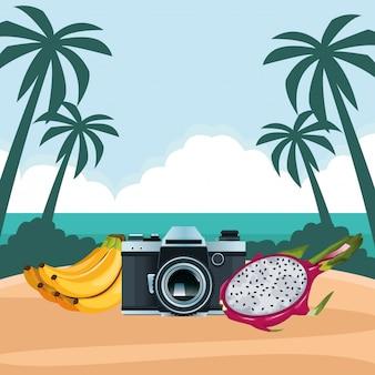 Caricature de plage et vacances d'été