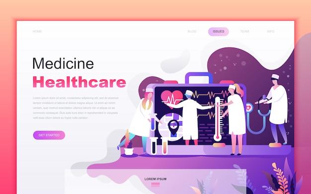 Caricature plat moderne de médecine et de soins de santé