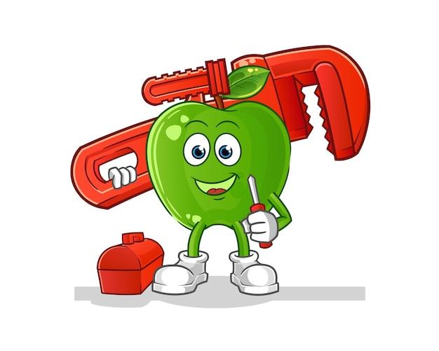 Caricature de plombier pomme verte
