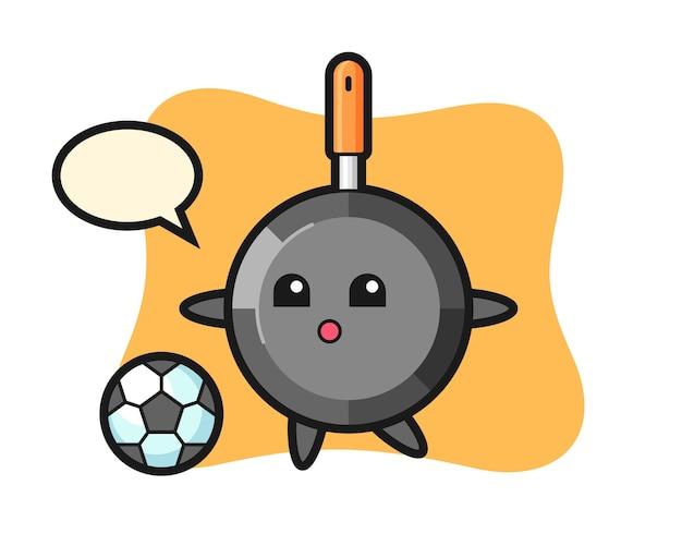 Caricature de poêle à frire joue au football