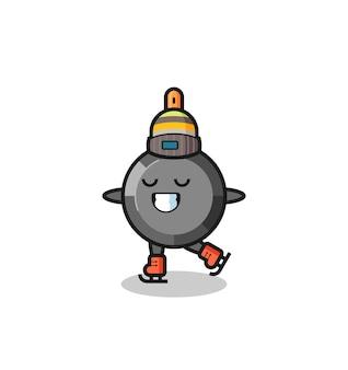 Caricature de poêle à frire en tant que joueur de patinage sur glace faisant des performances, design de style mignon pour t-shirt, autocollant, élément de logo