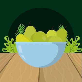 Caricature de poires vertes de fruits frais