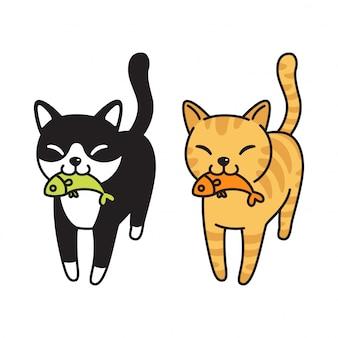 Caricature de poisson chat