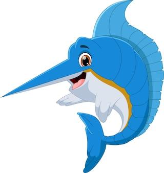 Caricature de poisson marlin sur fond blanc