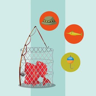 Caricature de poisson de pêche