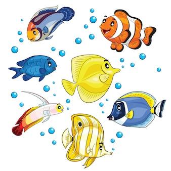 Caricature de poissons tropicaux