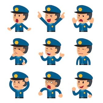 Caricature d'un policier au visage montrant différentes émotions