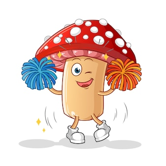 Caricature de pom-pom girl aux champignons agaric mouche isolé sur blanc