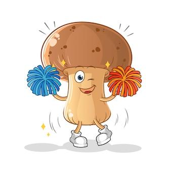 Caricature de pom-pom girl aux champignons. mascotte de dessin animé