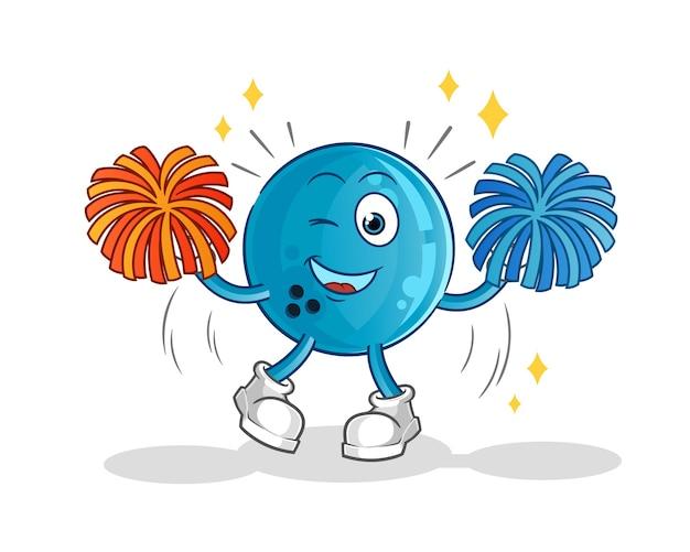 Caricature de pom-pom girl boule de bowling. mascotte de dessin animé